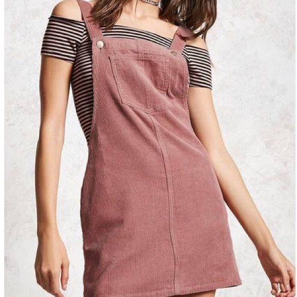 51ee0f10ff Forever 21 Dresses & Skirts - Forever 21 Pink Corduroy Overall Dress